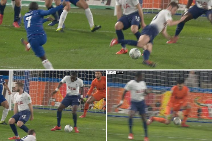 Kante somehow squeezes shot through three Spurs players' legs to give Chelsea the lead