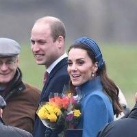 Kate Middleton Wears a Polka Dot Dress with a Blue Catherine Walker Coat