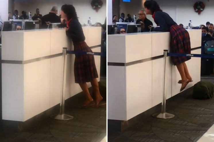 Bizarre moment woman screams 'rapist' at JetBlue airlines worker and claims to have a GUN in crazed rant
