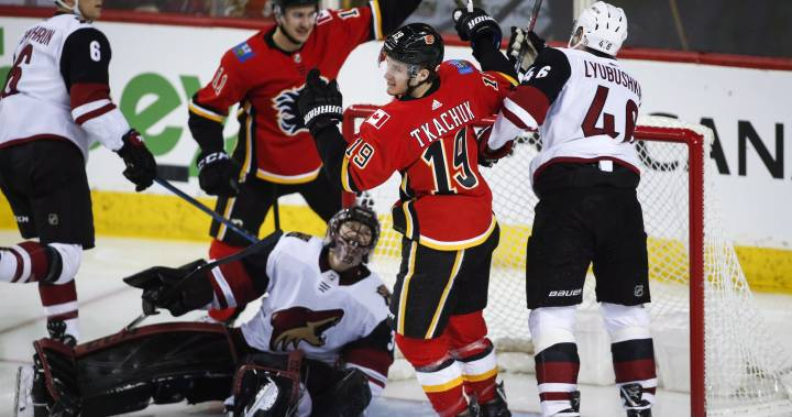 Giordano notches three points to lead Flames in 7-1 blowout of Coyotes