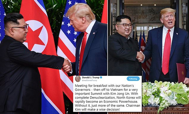 Trump touts economic benefits of denuclearization ahead of Kim summit