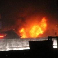 Motorway shut after 'van goes up in flames' causing 15 mile tailbacks