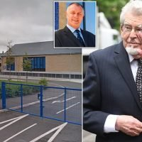 Convicted paedophile Rolf Harris thrown out of  school grounds