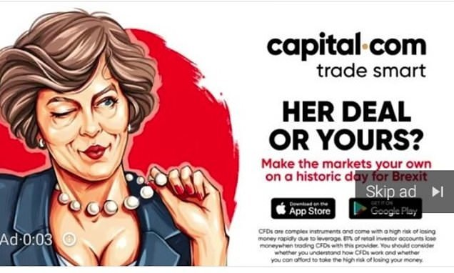 Investment firm is forced to pull advert of Theresa May looking 'sexy'