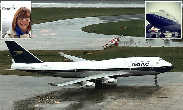 Kay Burley salutes BA's 747 in BOAC livery as it touches down