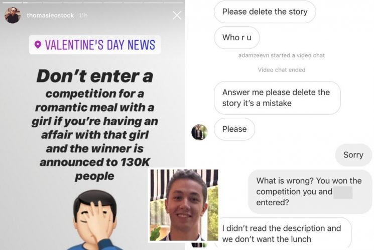 Love rat exposed after winning Valentine's Day competition with his lover and it was shared with restaurant's 130,000 Instagram followers