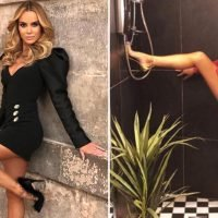 Amanda Holden flashes her long legs as she poses for sexy shower snap
