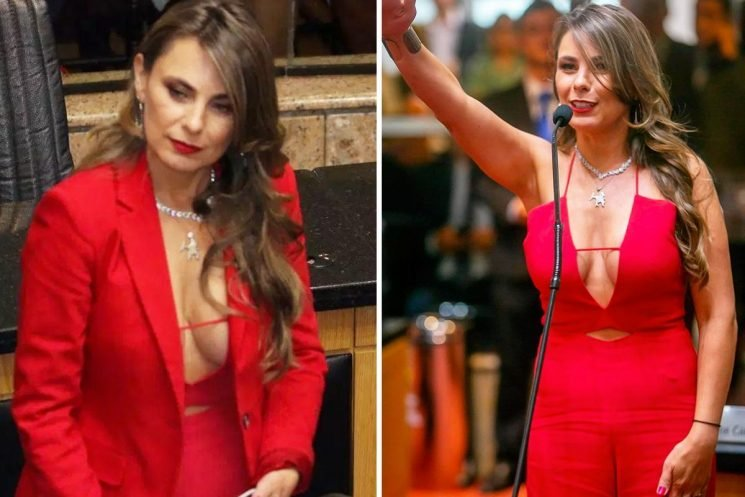 Busty Brazilian MP, 43, bombarded with vile rape threats for showing cleavage in parliament