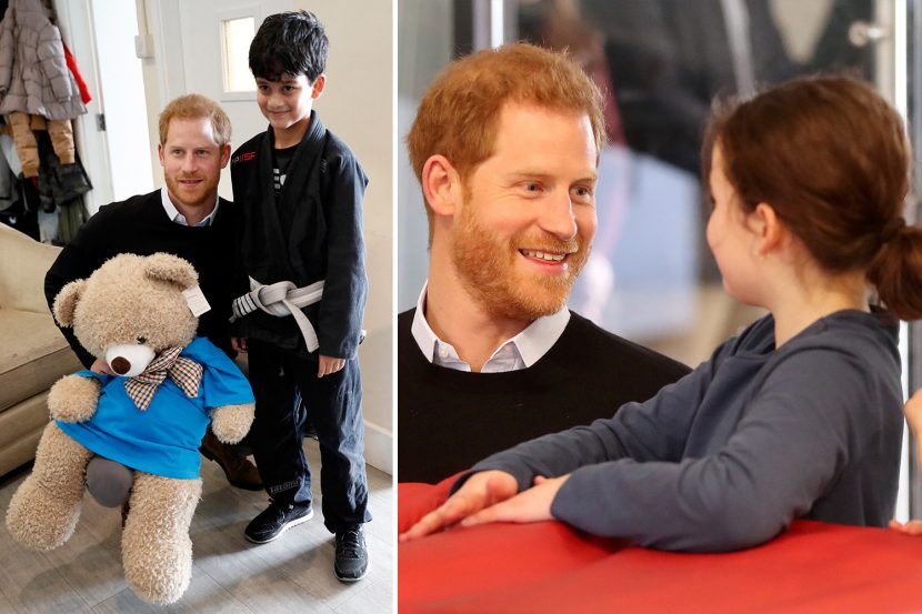 Dad-to-be Prince Harry gets in some practice as he chats to children at half-term holiday club in South London