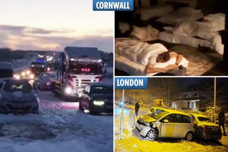 Over 100 drivers stranded and forced to sleep in PUB after -15C snowbomb cuts off parts of South West – and Brits told to brace for MORE today