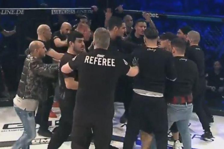 Watch shocking moment chaos breaks out between corners at MMA fight after ref misses towel being thrown in