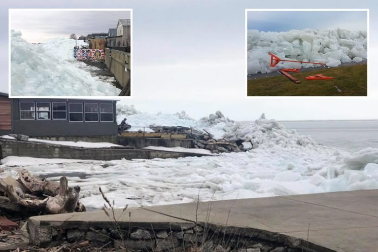 Terrifying 40ft-high ice tsunami bulldozes homes, trees and street lights when powerful winds toss ice chunks through town