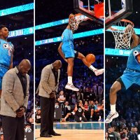 Hamidou Diallo jumps over Shaquille O'Neal to win NBA All-Star Dunk Contest after ripping jersey to expose Superman top