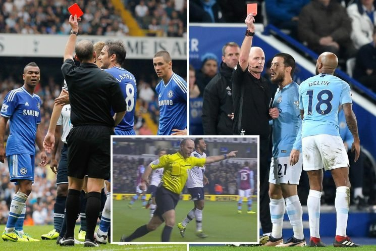 Mike Dean ready to brandish 100th red card.. and biggest victims Man City and Chelsea are up next