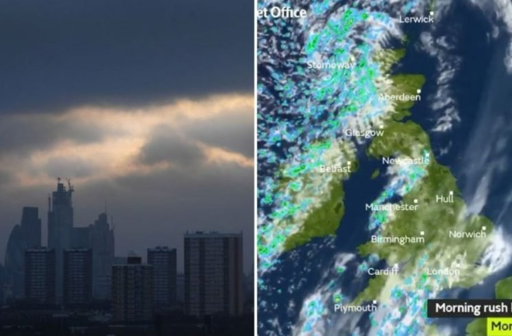 UK weather forecast – Strong winds, rain and THUNDER to strike Britain today in a miserable start to the week