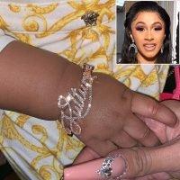 Cardi B Shows Off Daughter Kulture's Custom Diamond Nameplate Bracelet