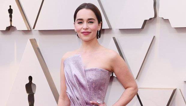 Emilia Clarke Dazzles In Sparkling Purple Dress & Shows Off New Hair Makeover