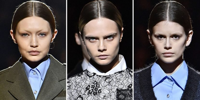 Cara Delevingne, Gigi Hadid, and Kaia Gerber Just Walked The Prada Runway Without Eyebrows
