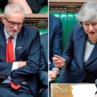 Theresa May attacks Jeremy Corbyn over Brexit flip-flopping as secret poll shows trust in him has plummeted