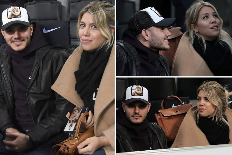 Mauro Icardi joined by wife Wanda in the stands as they watch Inter amid striker's contract stand-off