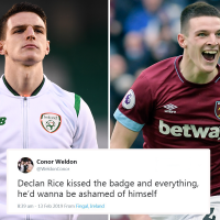 Declan Rice faces sick 'death' jibes and branded 'Judas' as furious fans remind him of time he kissed Republic of Ireland badge