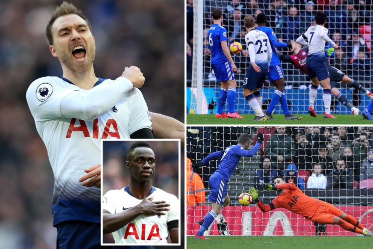 Sanchez, Eriksen and Son score for Spurs as Vardy comes off bench to miss penalty then score
