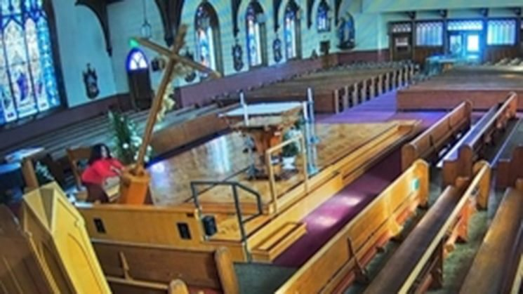 Church video captures woman toppling 15-foot crucifix on altar
