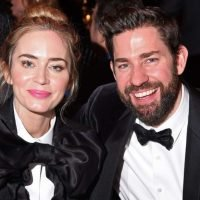 Emily Blunt and John Krasinski wear matching suits to award show