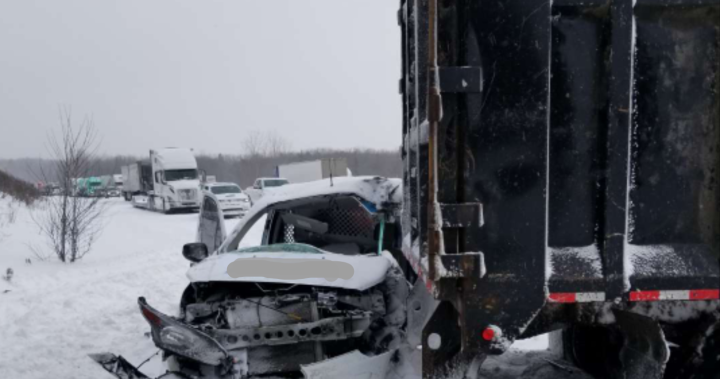 One seriously injured in multi-vehicle collision on Highway 401 near Brighton