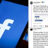 Facebook users can be looked up by two-factor authentication number