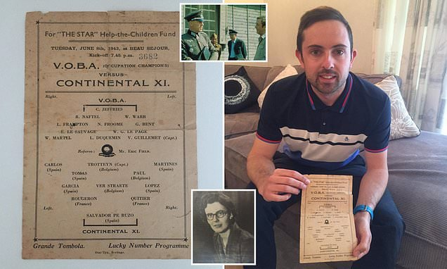 A 76-year-old programme for a PoW match stopped by the Nazi's found