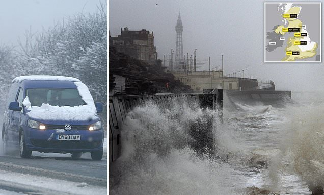 Snow hits Scotland and North of England after Atlantic storm bashes UK