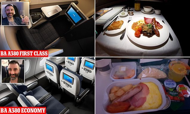 Inside BA's £2.8k A380 FIRST CLASS suite then flying back in ECONOMY