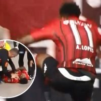 Watch daft footballer fall down steep drop and injure himself celebrating goal in Japan's J-League