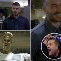 James Corden pranks David Beckham with horrible Ronaldo style LA Galaxy statue