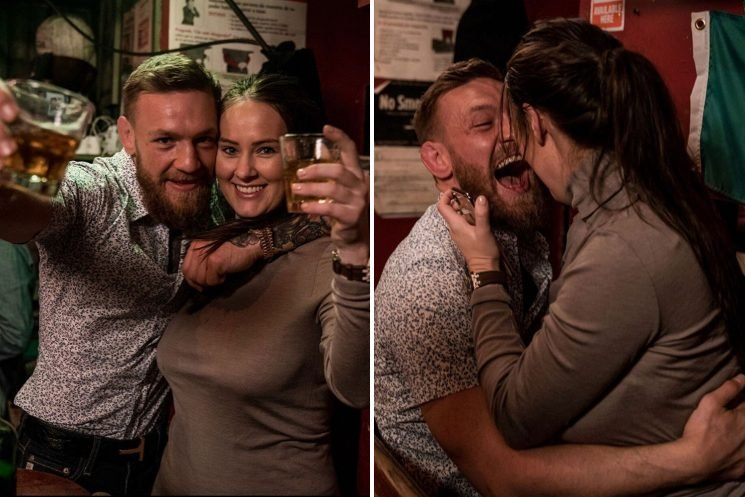 Conor McGregor necks glasses of whiskey on 'little night out' in NY and cuddles girlfriend Dee as UFC star calls for Khabib rematch