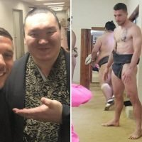 Arsenal icon Podolski gets into Japanese culture by wearing a sumo belt