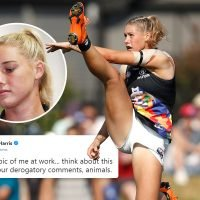 Aussie rules star left feeling 'sexually abused' and fearing for safety after 'animals' post vile replies to picture of her kicking
