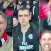Watch Man Utd fan in PSG home end break cover for Rashford penalty and make the locals livid