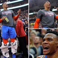 Furious NBA star Westbrook screams at fan after being racially abused and told to 'get on your knees like you used to'