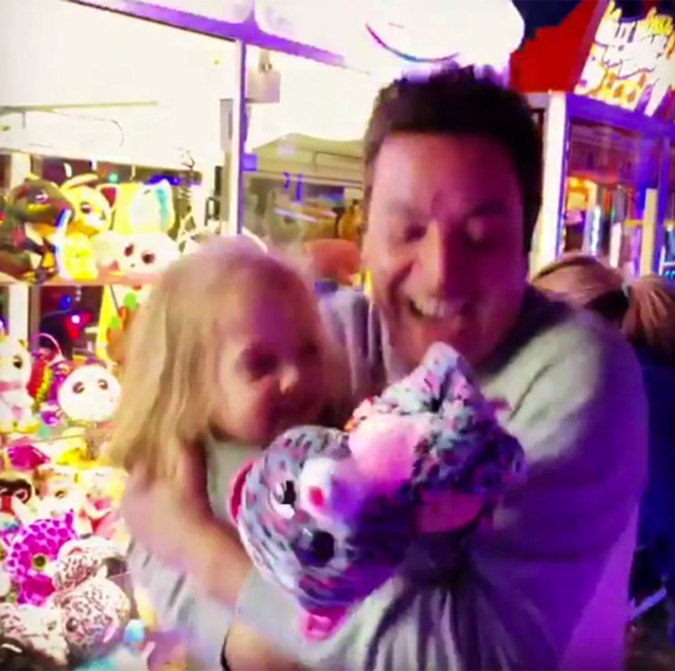 Jimmy Fallon Adorably Freaks Out After He and His Daughter Win a Prize from a Claw Machine