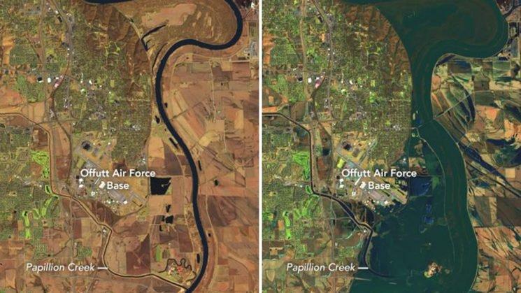 Nebraska floods swamp Air Force base, as devastation from 'Bomb Cyclone' seen in satellite photos