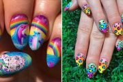 This Cute Lisa Frank Nail Art Would Go Perfectly With Your Favorite '90s Trapper Keeper