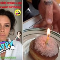 Make-up free Victoria Beckham woken up by her kids at 6am before being served a breakfast donut on her 45th birthday