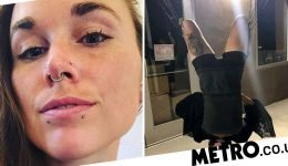 Woman says she gets pleasure from being suspended from her skin by metal hooks
