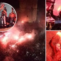 PAOK win Greek league for first time in 34 years and fans celebrate with stunning flare spectacular at stadium