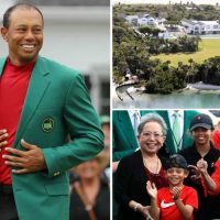 Tiger Woods joined by Erica Herman, kids and mum on private jet as he returns to Florida mansion after celebrating Masters win at Chairman's Reception… and he never took his green jacket off