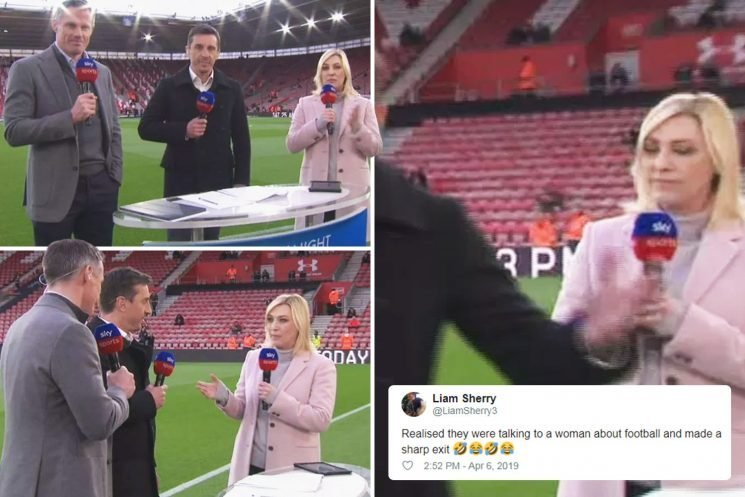 Fans baffled as Neville and Carragher bizarrely walk away from Sky Sports presenter Kelly Cates while answering question before Liverpool's victory over Southampton