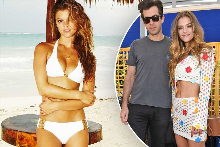 Supermodel Nina Agdalposes in a white bikini as she parties with Mark Ronson at a pool party