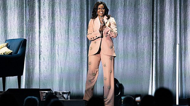 Michelle Obama Rocks Pretty Pink $2,300 Bedazzled Suit To Promote Book — Pics